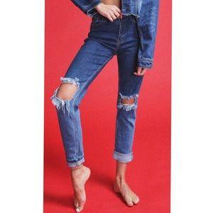 Denim - High-Rise Ombré Mom Jeans